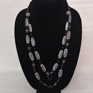 Matinee length Beaded floral back 13inch necklace